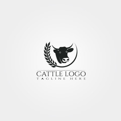 Cow farm icon template, cattle farm symbol, creative vector logo design, livestock, animal husbandry, illustration element