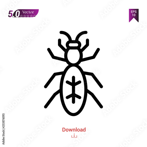 Outline ant icon isolated on white background  insect icons