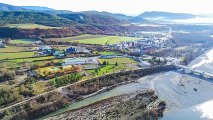 Zelfklevend Fotobehang Diepbruine Huesca. Drone in village of Ainsa. Spain. Aerial Photo