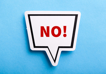 Say No Speech Bubble Isolated On Blue Fototapete