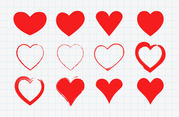 Red hand drawn hearts set. Valentines day icons. Signs isolated on white grid paper. Love concept stickers. Vector illustration