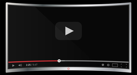 Realistic modern curved 4k TV monitor isolated on black background. Classic video player template on screen. Online video watching conecpt. Vector illustration