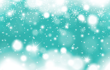 Winter turquoise glowing background of falling snow with clouds and snowflakes. Christmas and New Year card design. Vector illustration