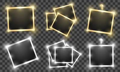 Pack of square realistic gold and silver shining frame templates with shadows isolated on transparent background. Vector illustration