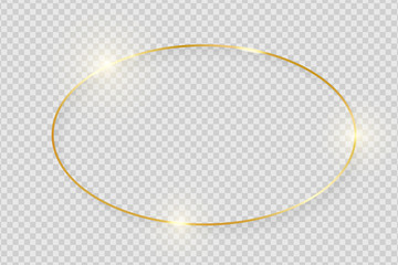 Gold shiny glowing vintage frame with shadows isolated on transparent background. Golden luxury realistic oval border. Vector illustration