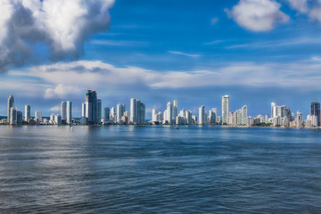 Skyline of the new city of Cartagena in Colombia.
