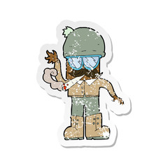 retro distressed sticker of a cartoon man smoking pot