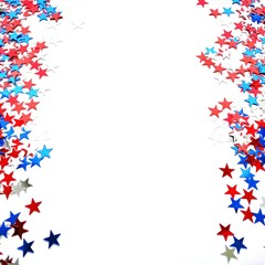 Red white blue shiny confetti stars on white background, isolate, tricolor concept, independence and freedom day USA