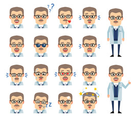 Set of professor emoticons showing various facial expressions. Happy, sad, angry, laugh, surprised, tired, in love and other emotions. Flat design vector illustration