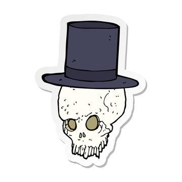sticker of a cartoon skull in top hat