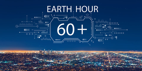 Earth hour with downtown Los Angeles at night