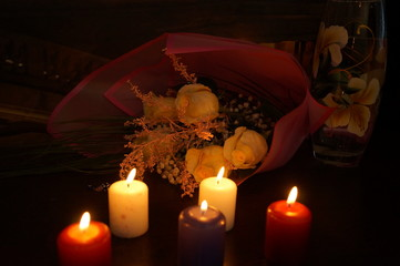 Bouquet of flowers, flowers, candles, romance, March 8