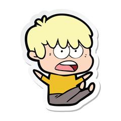 sticker of a worried cartoon boy