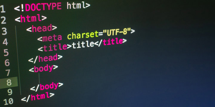HTML code close up