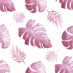 Tropical pink shiny leaves, painted in watercolor.  Seamless pattern with pink shiny tropical...