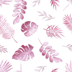 Tropical pink shiny leaves, painted in watercolor.  Seamless pattern with pink shiny tropical leaves.