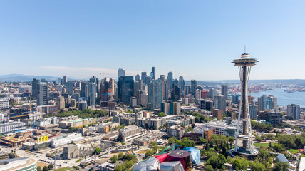Aerial view of Seattle Downtown Wall mural