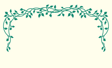 Vine vector of climbing or creeping ivy vines with pretty green plant leaves in an outline silhouette pattern illustrated in a floral hand drawn border design element on yellow background