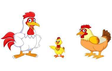 Cartoon chicken family, vector illustration