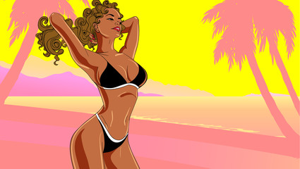 Summer time poster with sexy young girl in seaside. Vector illustraton.