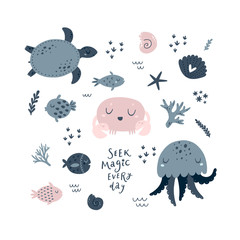 Ocean animals set with crab, sea turtle, jellyfish and fish