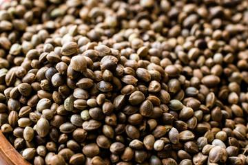 Stack of Organic Roasted Hemp Seeds.