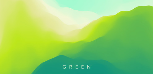 Landscape with green mountains. Mountainous terrain. Abstract nature background. Vector illustration. Wall mural