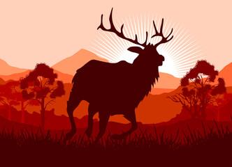 Printed kitchen splashbacks Brown Deer in wild nature landscape illustration