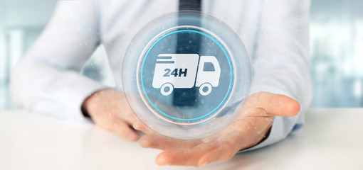 Businessman holding a Fast delivery button with connection 3d rendering