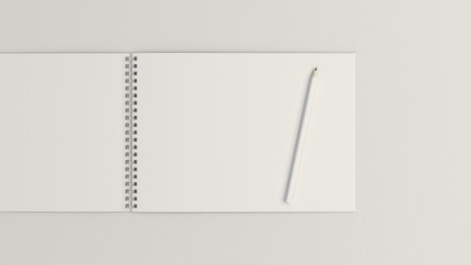 Drawing album with pencil