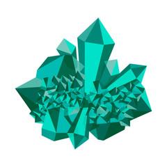 Emerald stone. Cluster crystal. Precious stone, gemstone, mineral.
