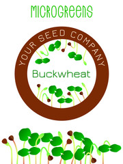 Microgreens Buckwheat. Seed packaging design, round element in the center. Sprouting seeds of a plant