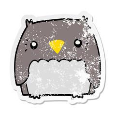 distressed sticker of a cute cartoon owl
