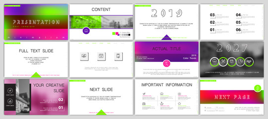 Template for business presentations. Multicolored elements on a white background. Walking girls in the city. slide, infographics, monitor, cover postcard, report, text, brochure, marketing and banner