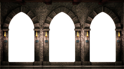 Medieval arches isolated Fotomurales