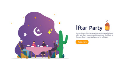 Iftar Eating After Fasting feast party concept. Moslem family dinner on Ramadan Kareem or celebrating Eid with people character. web landing page template, banner, presentation, social or print media.