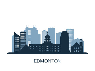 Edmonton skyline, monochrome silhouette. Vector illustration.
