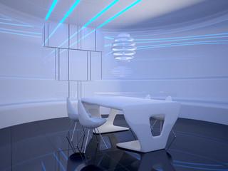 Futuristic dining room interior design. 3D illustration