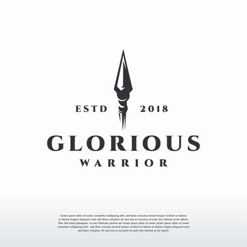 Glorious Warrior Logo vintage, Spear logo template