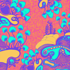 Hand-drawn background with magic mushrooms in doodle style. vector illustration.