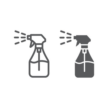 Foggy spray line and glyph icon, liquid and fluid, spray bottle sign, vector graphics, a linear pattern on a white background.
