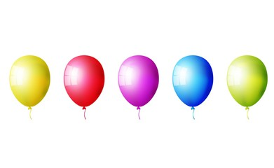 Set of realistic colorful balloons isolated