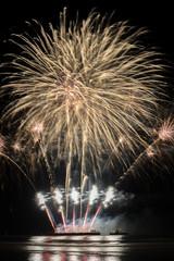 Annual summer fireworks event at Scheveningen beach in Den Haag on 11th August by England