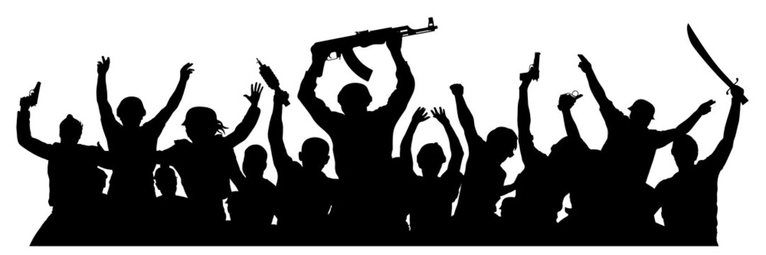 Crowd of military people with weapons. Armed terrorists. Military silhouette of soldiers. Vector illustration