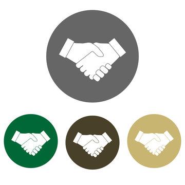 Hand, handshake icon set. Vector illustration, flat design.