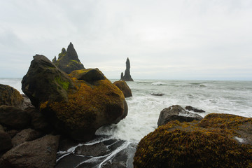 Reynisfjara lava beach view, south Iceland landscape