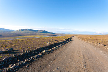 Dirt road from Hvitarvatn area, Iceland landscape