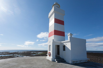 The old lighthouse in Gardur at Reykjanes Peninsula Iceland
