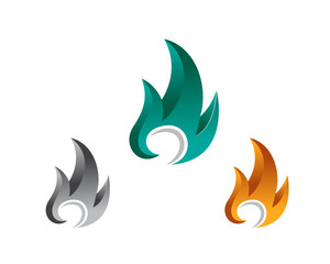 Abstract fire logo design inspiration