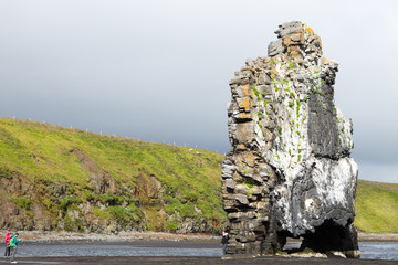 Hvitserkur sea stack, Iceland. Black sand beach